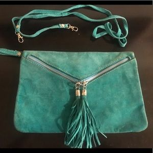 Suede Green cross body/ wristlet bag
